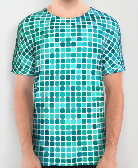 Green blue pixel mosaic Mens Printed Shirt