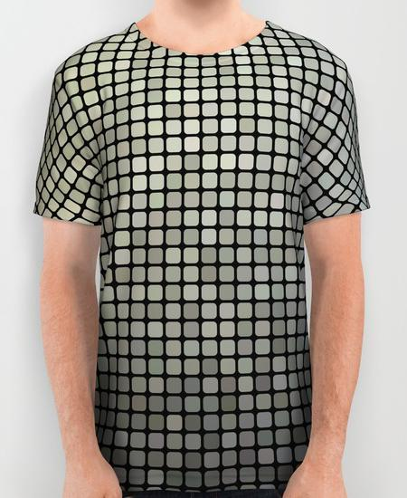 Grey pixel mosaic Mens Printed Shirt