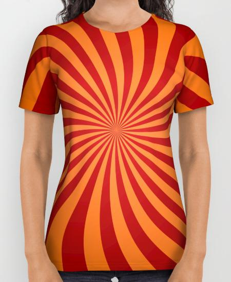 Red orange swirls Womens Printed Shirt