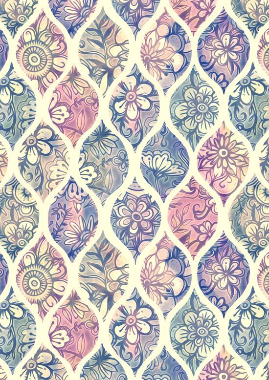 Patterned and painted floral art print