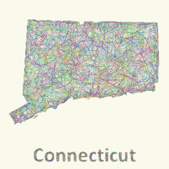 Connecticut map Art Print
