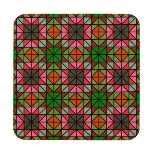 Colorful triangle mosaic pattern Regular Cork Coaster