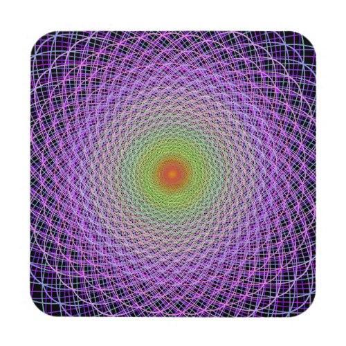 Colorful fractal Regular Cork Coaster