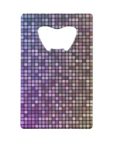 Colorful pixel mosaic Credit Card Bottle Opener
