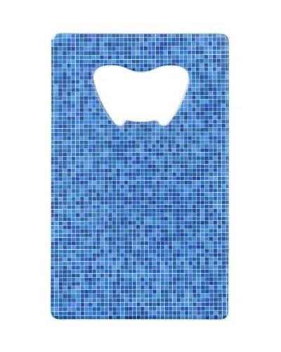 Blue pixel mosaic Credit Card Bottle Opener