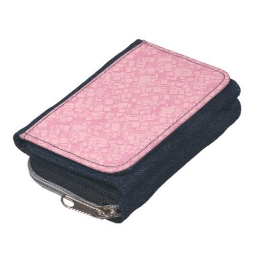 Pink rectangle pattern Denim Wallet