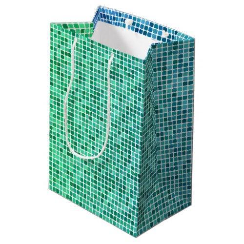 Blue pixel green mosaic Medium Gift Bag