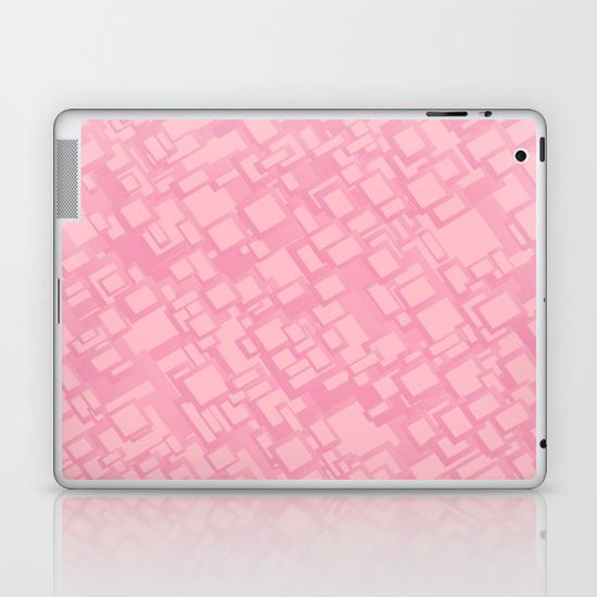Vintage pink rectangle pattern iPad Skin