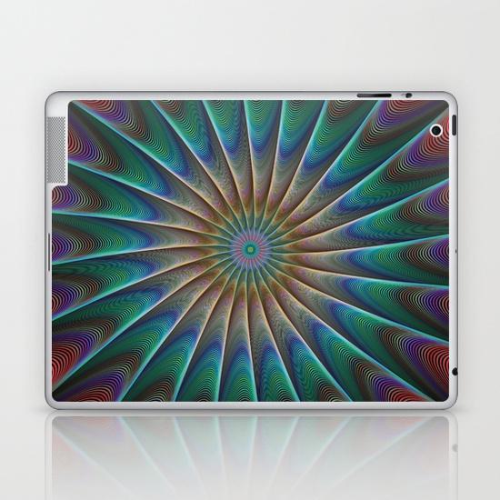 Peacock fractal iPad Skin