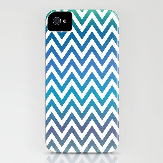 Blue green chevron pattern iPhone 4, 4S Case