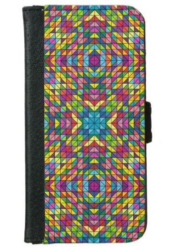 Colorful glass mosaic iPhone 6 Wallet Case