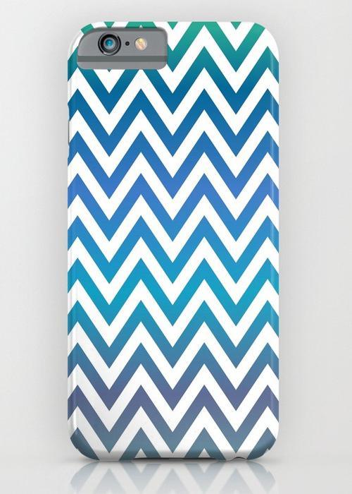 Blue green chevron pattern iPhone 6S Slim Case