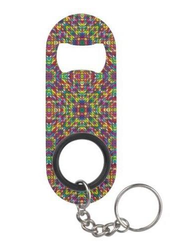 Multicolor mosaic pattern Keychain Bottle Opener