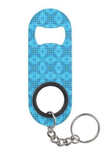 Blue mosaic tiles Keychain Bottle Opener