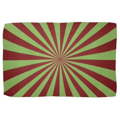 Red green rays Kitchen Towel