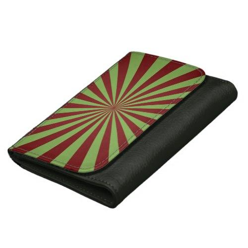 Red green rays Leather Wallet