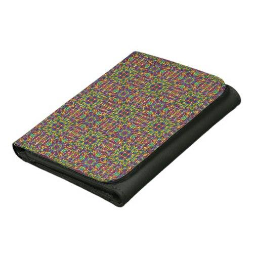 Multicolor mosaic pattern Leather Wallet