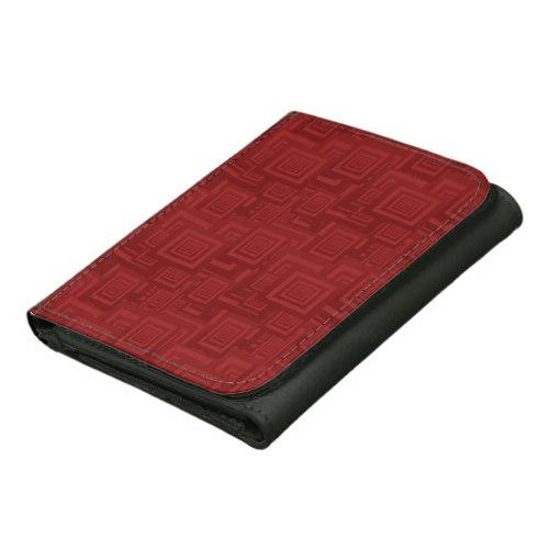 Maroon rectangles Leather Wallet