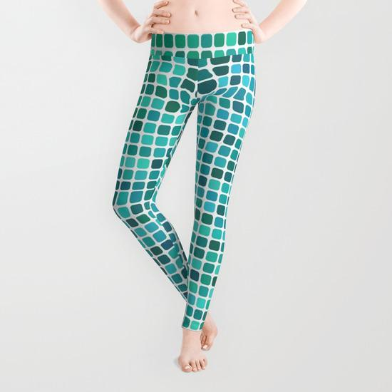 Green blue pixel mosaic Leggings