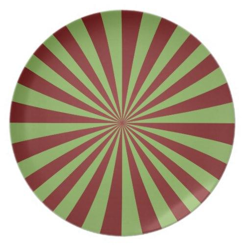 Red green rays Melamine Plate