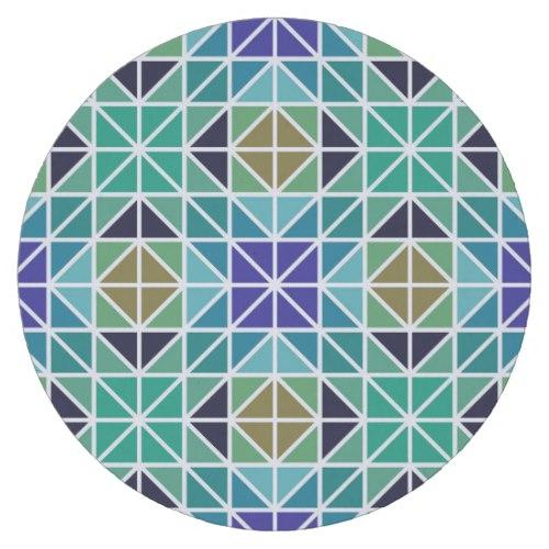 Blue colorful tiled mosaic Round Paper Coaster