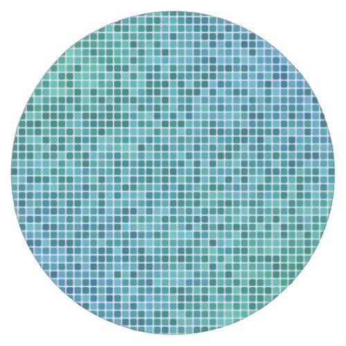 Green blue pixel mosaic Round Paper Coaster