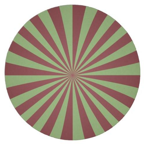 Red green rays Round Paper Coaster