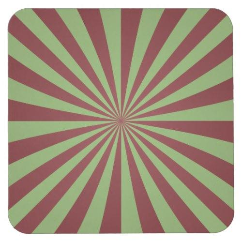 Red green rays Square Paper Coaster
