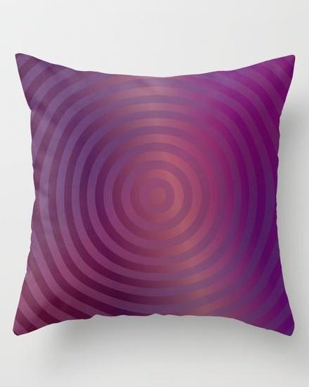 Purple concentric circles Throw Pillow