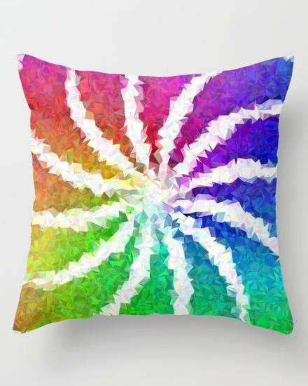 Multicolor mosaic swirls Throw Pillow
