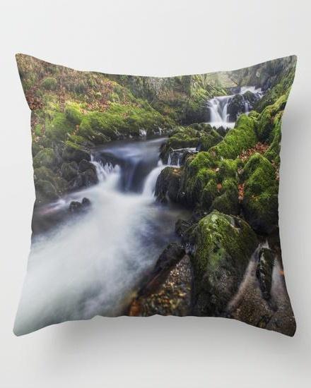 A Stream of Snowdon Throw Pillow