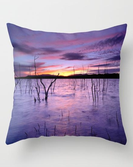 Purple waters Throw Pillow
