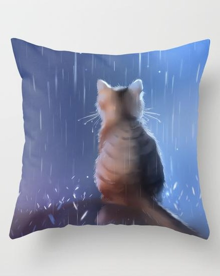 Under rainy days like these Throw Pillow