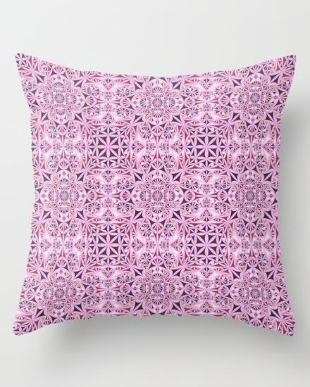 Pink kaleidoscope wallpaper Throw Pillow
