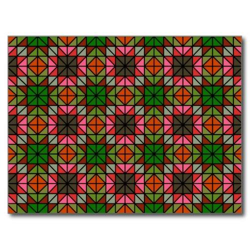 Colorful triangle mosaic pattern Postcard
