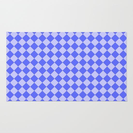 Blue square pattern Rug