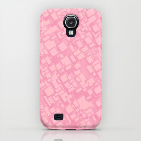 Vintage pink rectangle pattern Samsung Galaxy S4 Case