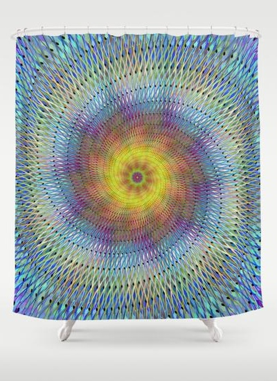 Psychedelic spiral Shower Curtain