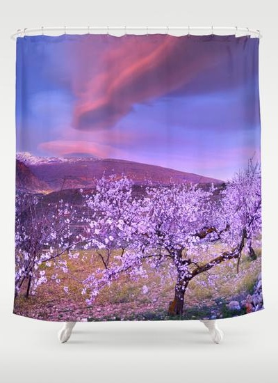 Lenticular clouds over Sierra Nevada and almonds Shower Curtain