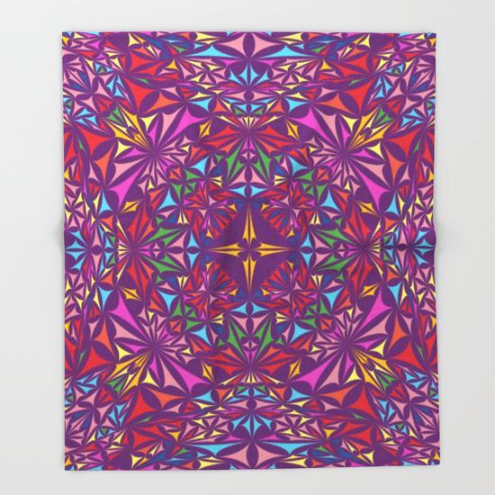 Colorful kaleidoscopic triangle design Throw Blanket