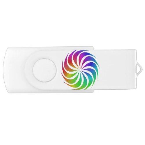 Rainbow spiral Swivel USB Flash Drive