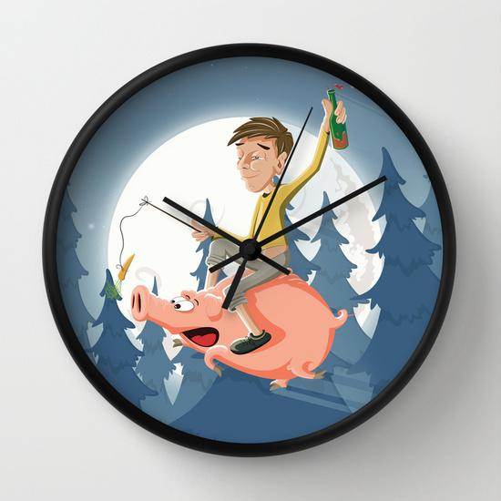 Mental night Wall Clock