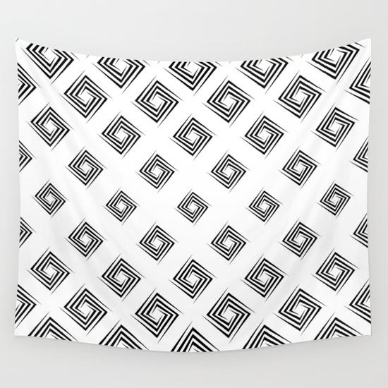 Monochrome rectangular spiral pattern Wall Tapestry