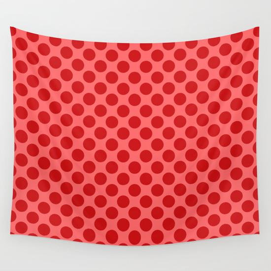 Red dots Wall Tapestry