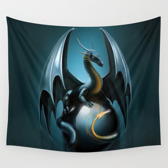Blue dragon Wall Tapestry