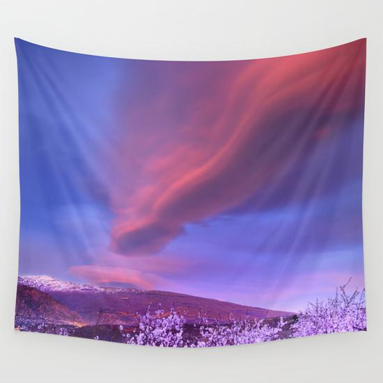 Lenticular clouds over Sierra Nevada and almonds Wall Tapestry