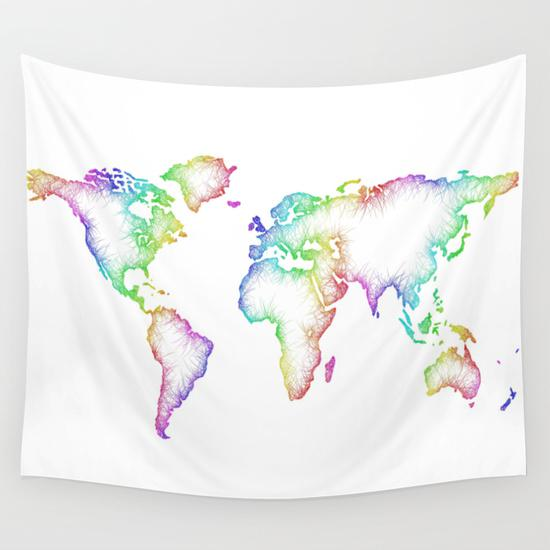 Map gifts printedgift world map wall tapestry gumiabroncs Gallery
