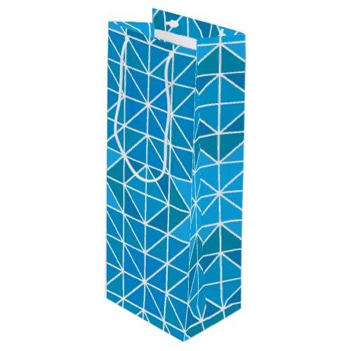 Blue triangle mosaic Wine Gift Bag