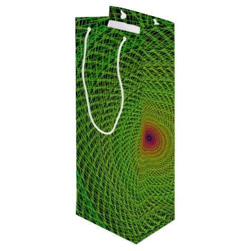 Green fractal Wine Gift Bag