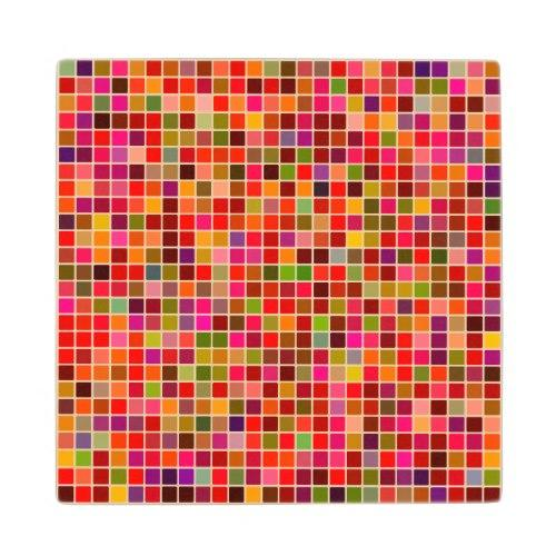 Red colorful mosaic Wood Coaster